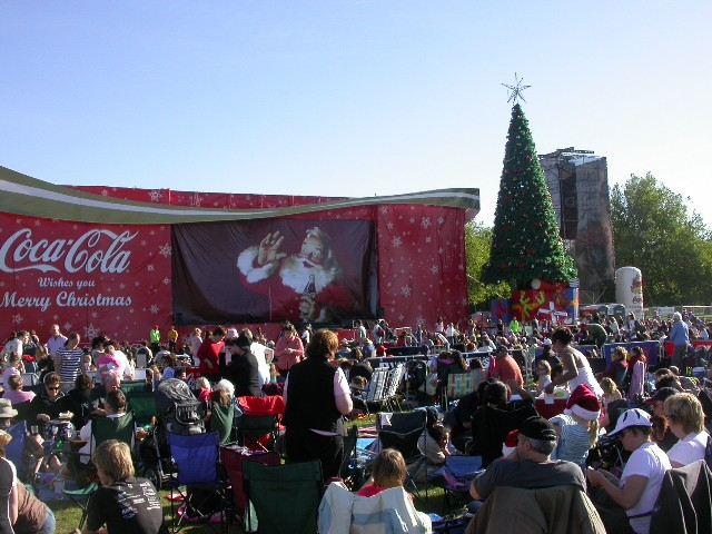 The Main Stage and Christmas Tree